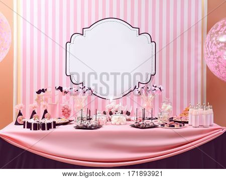 Table with tasty sweets prepared for party