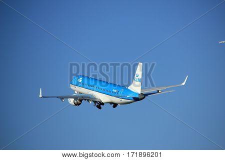 Amsterdam the Netherlands - August 18th 2016: PH-EZW KLM Cityhopper Embraer ERJ-190STD taking off from Polderbaan Runway Amsterdam Airport Schiphol