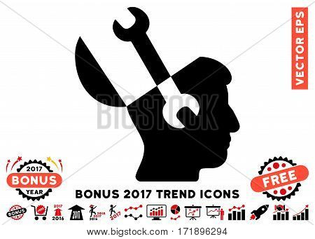 Intensive Red And Black Mind Wrench Tools icon with bonus 2017 trend elements. Vector illustration style is flat iconic bicolor symbols white background.