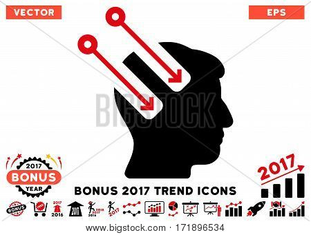 Intensive Red And Black Neural Interface pictograph with bonus 2017 trend pictograms. Vector illustration style is flat iconic bicolor symbols white background.