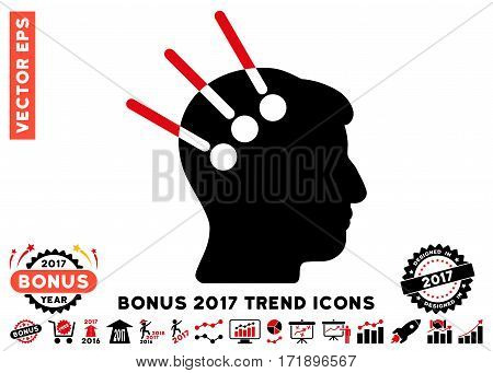 Intensive Red And Black Neural Interface pictograph with bonus 2017 year trend images. Vector illustration style is flat iconic bicolor symbols white background.