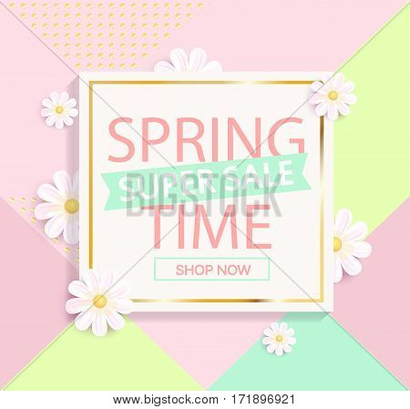 Spring sale geometric background with beautiful flower. Vector illustration template and banners, wallpaper, flyers, invitation, posters, brochure, voucher discount.