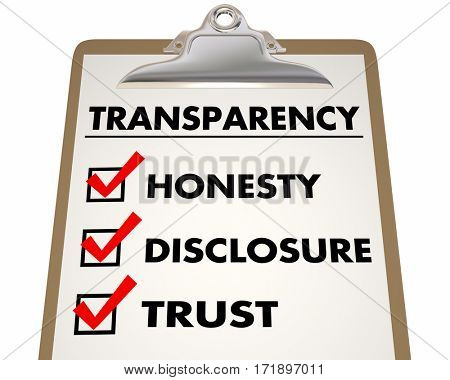 Transparency Honesty Disclosure Trust Checklist 3d Illustration