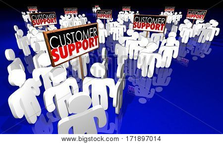 Customer Support Signs People Service Staff 3d Animation