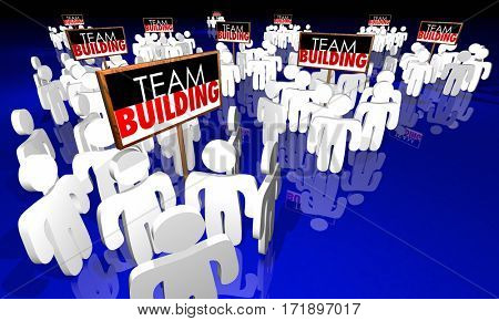 Team Building Groups People Signs Meeting Huddle 3d Illustration