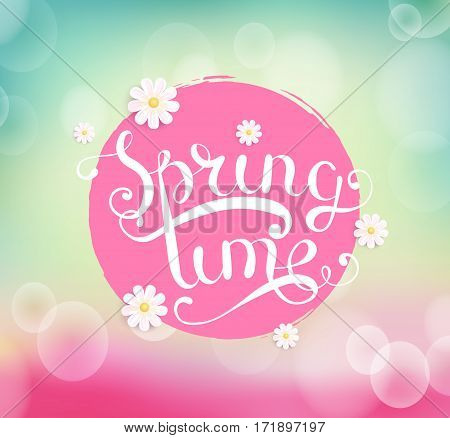 Spring time with flower. Typographical Background vector illustration.