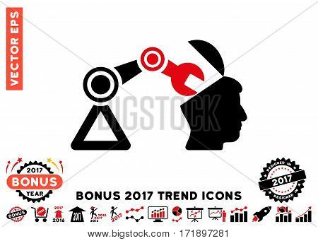 Intensive Red And Black Open Head Surgery Manipulator icon with bonus 2017 year trend pictograph collection. Vector illustration style is flat iconic bicolor symbols white background.