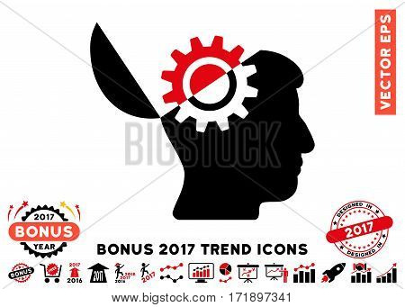 Intensive Red And Black Open Mind Gear pictograph with bonus 2017 year trend pictures. Vector illustration style is flat iconic bicolor symbols white background.