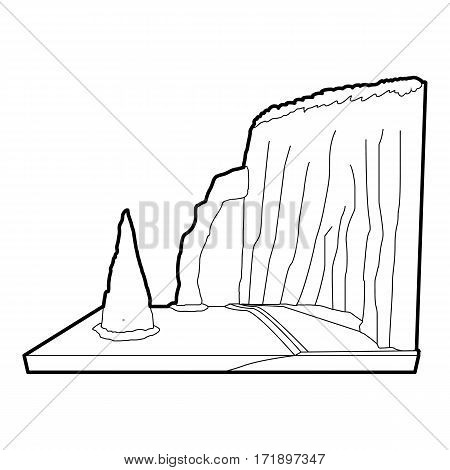 Sea cliff icon. Outline illustration of sea cliff vector icon for web
