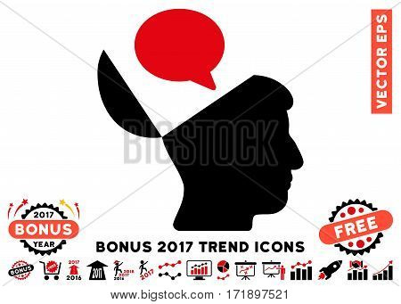 Intensive Red And Black Open Mind Opinion pictogram with bonus 2017 year trend clip art. Vector illustration style is flat iconic bicolor symbols white background.