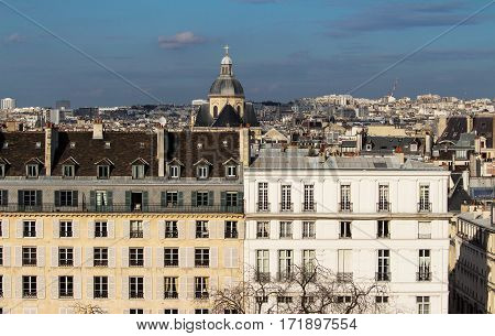 The panoramic view on parisian houses Paris France.