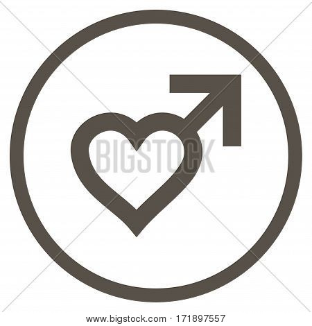 Male Heart rounded icon. Vector illustration style is flat iconic bicolor symbol inside circle grey and cyan colors white background.