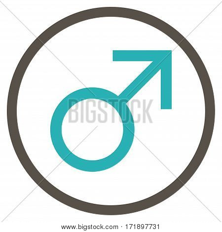 Mars Male Symbol rounded icon. Vector illustration style is flat iconic bicolor symbol inside circle grey and cyan colors white background.