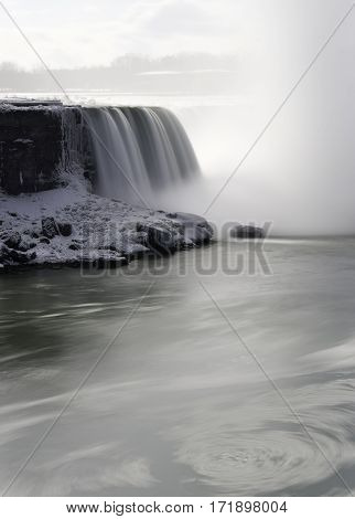 Swirling current in fast flowing river with waterfall and snow covered rocks in background