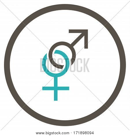 Sex Symbol rounded icon. Vector illustration style is flat iconic bicolor symbol inside circle grey and cyan colors white background.