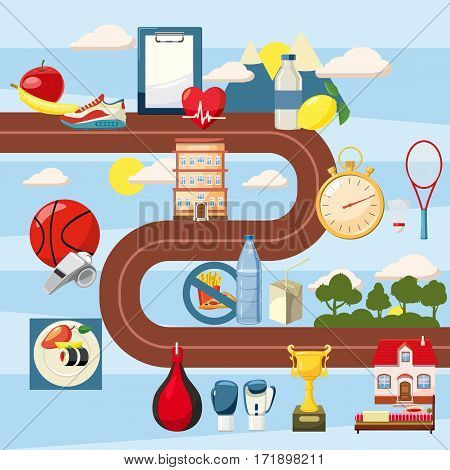 Sport steps way concept set. Cartoon illustration of sport steps way vector concept for web
