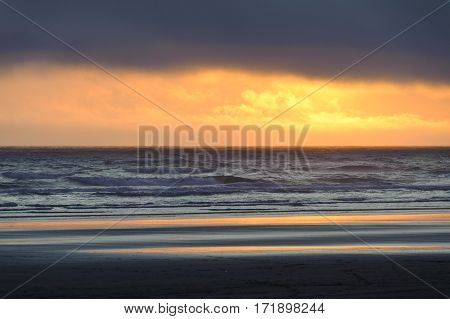 orange sunset at Kalaloch beach Olympic National Park Washington State