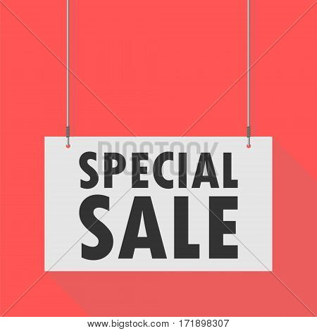 Hanging Sign special sale on red background