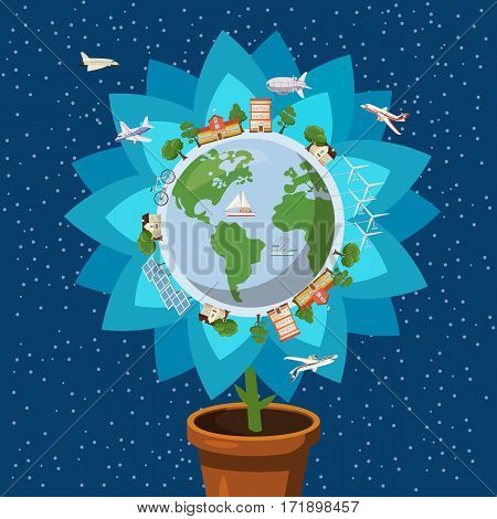 Globe gently flower ecology concept set. Cartoon illustration of globe gently flower ecology vector concept for web
