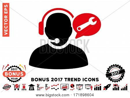 Intensive Red And Black Operator Service Message icon with bonus 2017 year trend images. Vector illustration style is flat iconic bicolor symbols white background.
