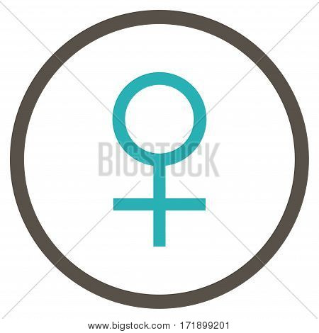 Venus Female Symbol rounded icon. Vector illustration style is flat iconic bicolor symbol inside circle grey and cyan colors white background.