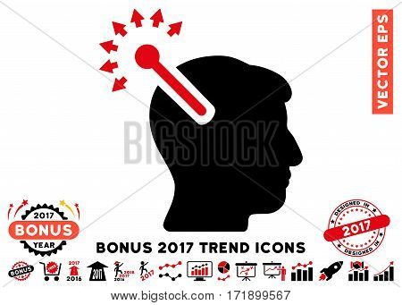 Intensive Red And Black Optical Neural Interface pictogram with bonus 2017 year trend symbols. Vector illustration style is flat iconic bicolor symbols white background.