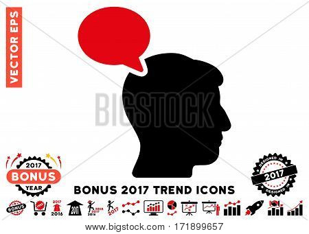 Intensive Red And Black Person Opinion pictogram with bonus 2017 year trend design elements. Vector illustration style is flat iconic bicolor symbols white background.