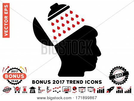 Intensive Red And Black Propaganda Brain Shower pictogram with bonus 2017 trend images. Vector illustration style is flat iconic bicolor symbols white background.