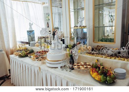 Fine dishes on the buffet table wedding