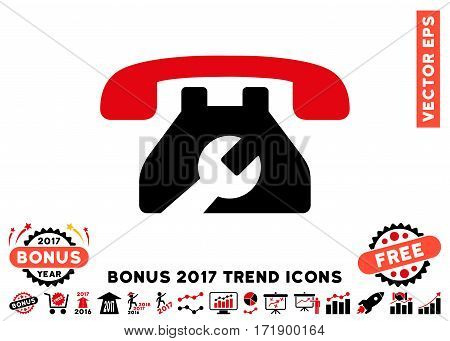 Intensive Red And Black Repair Service Phone pictograph with bonus 2017 year trend pictograph collection. Vector illustration style is flat iconic bicolor symbols white background.