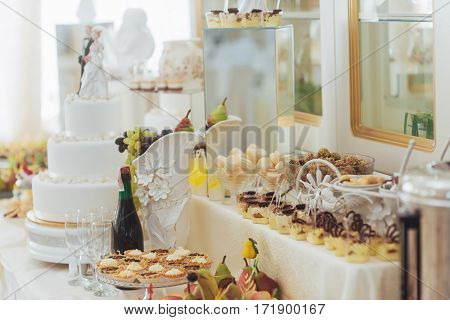 Fine dishes on the buffet table wedding.