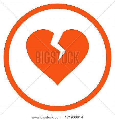 Heart Break rounded icon. Vector illustration style is flat iconic bicolor symbol inside circle orange and gray colors white background.