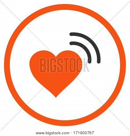 Heart Radio Signal rounded icon. Vector illustration style is flat iconic bicolor symbol inside circle orange and gray colors white background.