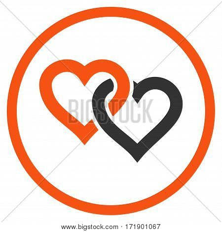 Linked Hearts rounded icon. Vector illustration style is flat iconic bicolor symbol inside circle orange and gray colors white background.