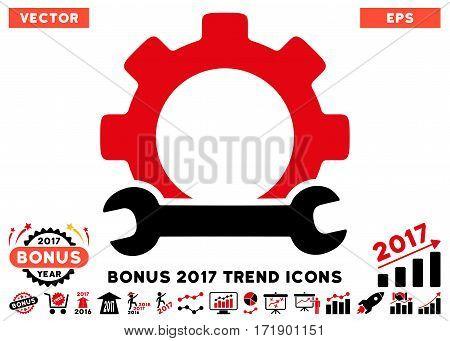 Intensive Red And Black Service Tools pictograph with bonus 2017 year trend pictograph collection. Vector illustration style is flat iconic bicolor symbols white background.
