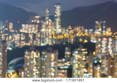 City blurred lights Hong Kong residence area abstract background