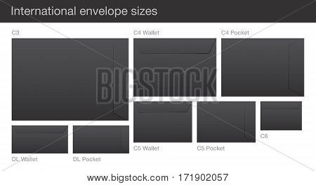 Set of black vector envelopes, with international standard sizes, isolated on a white background.