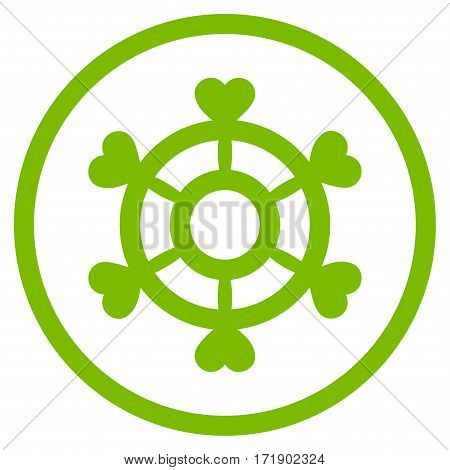 Lovely Boat Steering Wheel rounded icon. Vector illustration style is flat iconic bicolor symbol inside circle eco green and gray colors white background.