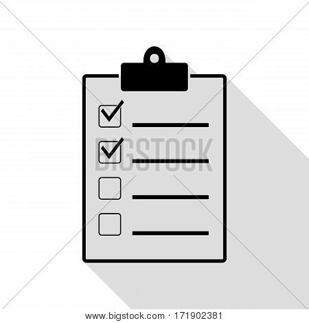 Checklist sign illustration. Black icon with flat style shadow path.