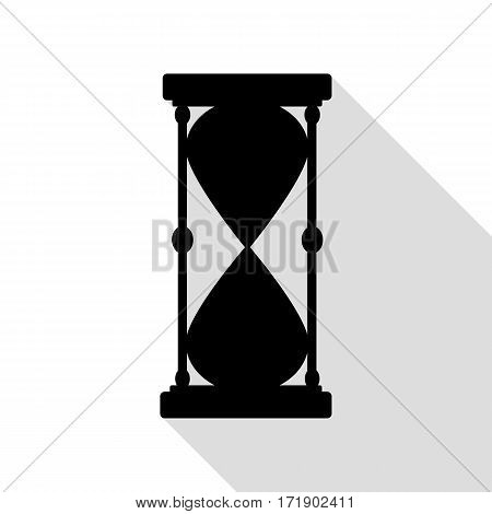 Hourglass sign illustration. Black icon with flat style shadow path.