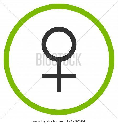 Venus Female Symbol rounded icon. Vector illustration style is flat iconic bicolor symbol inside circle eco green and gray colors white background.