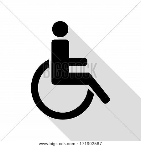 Disabled sign illustration. Black icon with flat style shadow path.