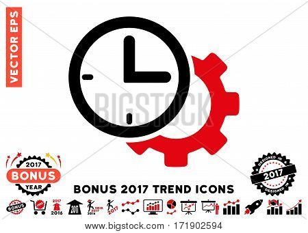 Intensive Red And Black Time Setup Gear pictogram with bonus 2017 trend clip art. Vector illustration style is flat iconic bicolor symbols white background.
