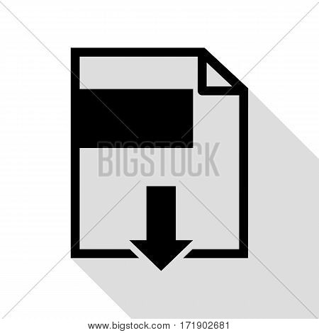 File download sign. Black icon with flat style shadow path.