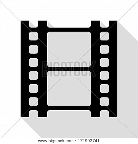 Reel of film sign. Black icon with flat style shadow path.