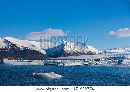 Iceland winter Jokulsalon lagoon winter natural landscape background