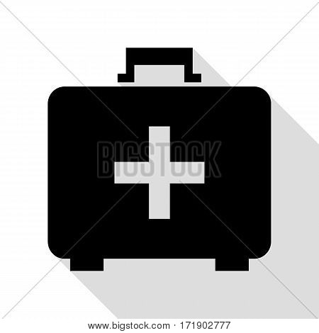 Medical First aid box sign. Black icon with flat style shadow path.