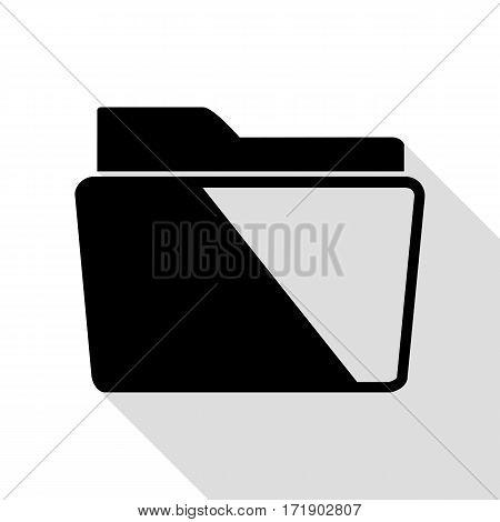 Folder sign illustration. Black icon with flat style shadow path.