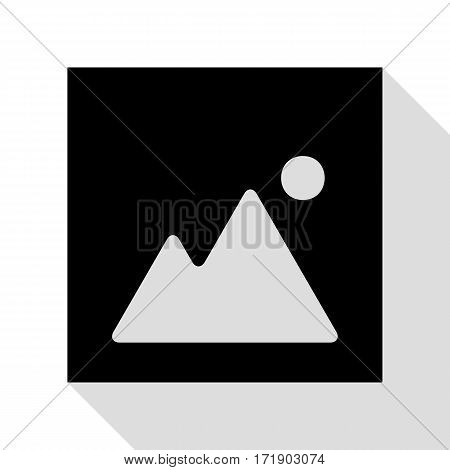 Image sign illustration. Black icon with flat style shadow path.