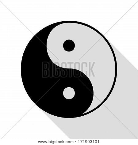 Ying yang symbol of harmony and balance. Black icon with flat style shadow path.